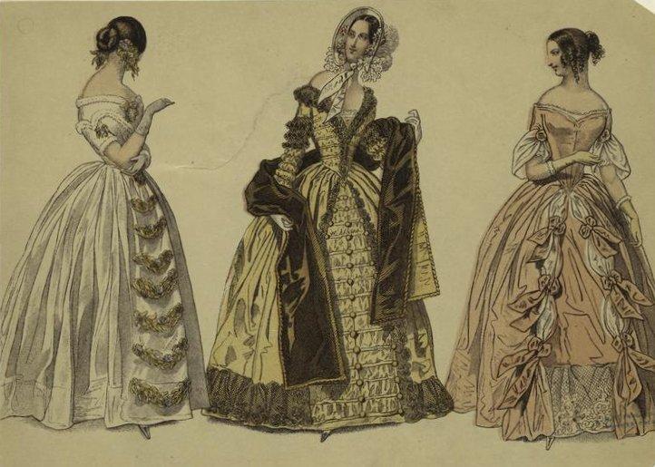Rozłożyste stroje z połowy XIX wieku