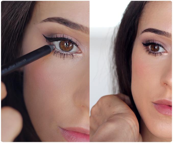 Aby oczy wydawały się wypoczęte i pełne blasku, wystarczy pomalować linię wodną oka białą lub beżową kredką