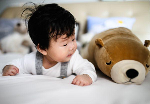 sesja z dzieckiem - dziecko z misiem
